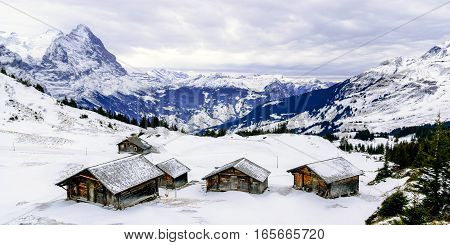 The view point of the Alps Mountains in winter Grindelwald Switzerland.
