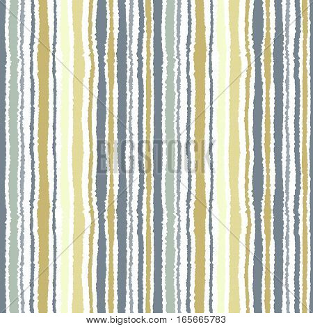 Seamless strip pattern. Vertical lines with torn paper effect. Shred edge background. Light, soft, olive, gray, yellow colors on white background. Winter theme. Vector