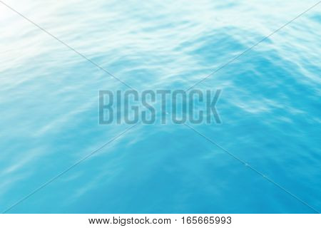 Blue water background with ripples, sea, ocean wave low angle view. Close-up Nature background. Hard focus with selective focus, 3d rendering
