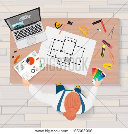 Architect construction engineering planning and creating process with proffesional tools. Projects technical concept. Builder Workplace top view