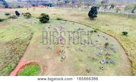 Overhead shot of the main Plain of Jars park in Xieng Khuong Laos
