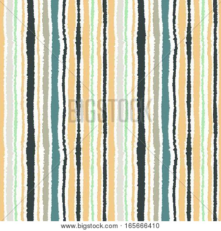 Seamless strip pattern. Vertical lines with torn paper effect. Shred edge background. Light, contrast, green, gray, yellow colors on white background. Winter theme. Vector