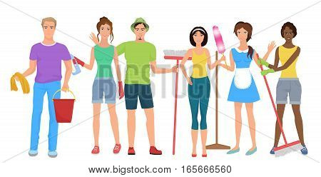 Man and woman janitors cleaners. Cleaning people group team together with cleaning equipmen set. Cleaning stuff service