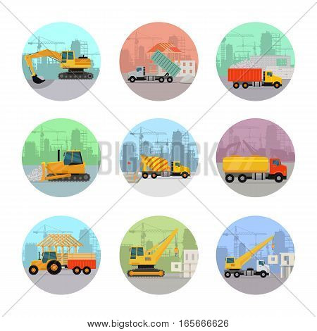 Set of construction machines icons. Flat style vector. Illustration of excavator, dump lorry, tipper, bulldozer, concrete mixer, tank truck, tractor, crane working on building sites. Isolated on white