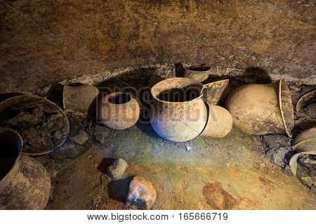 ancient burial urns in underground grave of Tierradentro Colombia