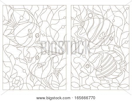 Set contour illustrations of stained glass with aquarium fishbutterfly fish and Moorish idols