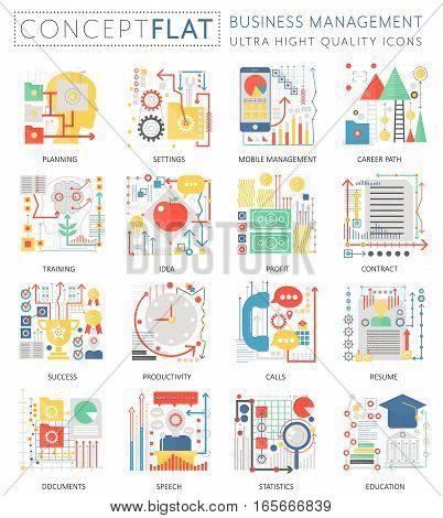 Infographics mini concept Business management icons for web. Premium quality color conceptual flat design web graphics icons elements. Business management concepts