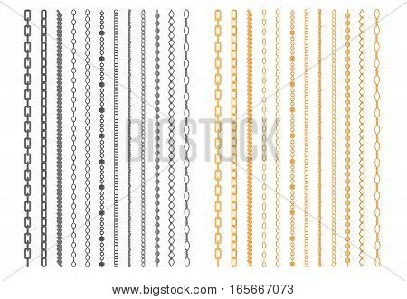 Metal chainlets with variety chain links. Gold, silver, stainless steel necklaces vector illustration isolated on white background. Jewelry from precious metals. For jewelry store ad, fashion concept