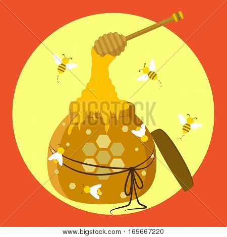 Illustration of a group of bees flying over honey jar full of honey with honey dipper.
