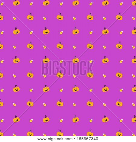 pumpkin and candy corn seamless pattern vector on purple background