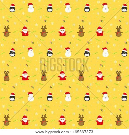 Christmas seamless background with christmas characters, snowflakes, and candy cane on yellow background.
