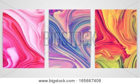 Three paintings with marbling. Marble texture. Paint splash. Colorful fluid. It can be used for poster brochure invitation cover book catalog. Size A4. Vector illustration eps10