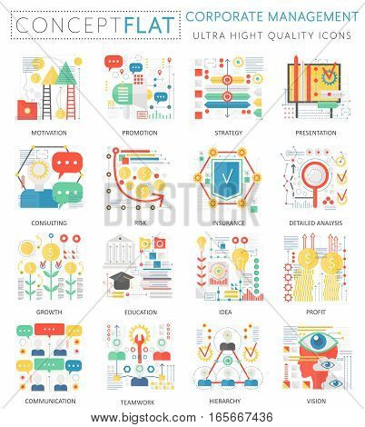 Infographics mini concept corporate managment icons for web. Premium quality color conceptual flat design web graphics icons elements. corporate managment tools concepts
