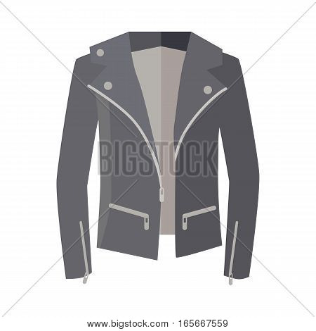 Jacket on zipper isolated on white. Unisex for man and woman. Cozy autumn and winter clothes. Fashionable outerwear. Winter double-breasted jacket icon flat style design. Fashion wear. Vector