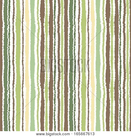 Seamless strip pattern. Vertical lines with torn paper effect. Shred edge background. Light, contrast, green, gray, brown, olive, white colors on white background. Autumn theme. Vector