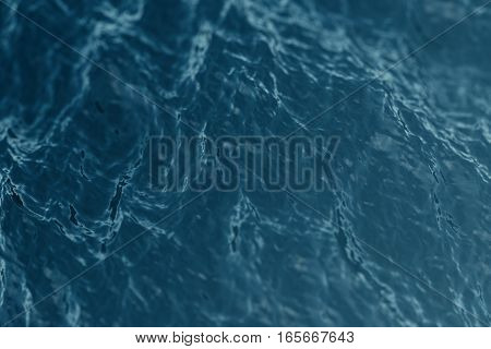 Blue water background with ripples, sea, ocean wave low angle view. Close-up Nature background. Soft focus with selective focus. 3d rendering