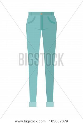 Trousers isolated on white background. Unisex man woman trousers. Blue jeans in flat style design Modern pants vector illustration. Fashionable cotton elegant trousers. Casual male female jeans icon