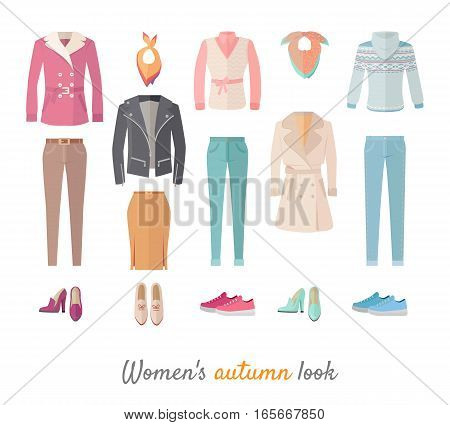 Women s autumn look. Casual clothes, shoes for cold season. Pants, jacket, blouse, coat, sweater, scarf, skirt, cloak, boots, loafers sneakers vectors isolated on white For store ad fashion concept