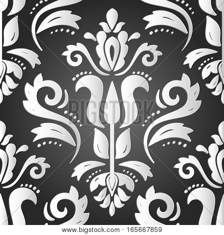 Seamless oriental black and white ornament. Fine vector traditional oriental pattern with 3D elements, shadows and highlights