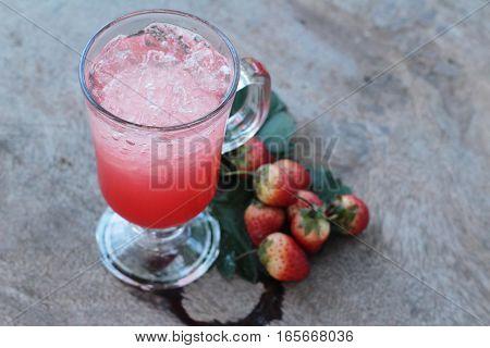 Strawberry italian soda and fresh strawberry delicious