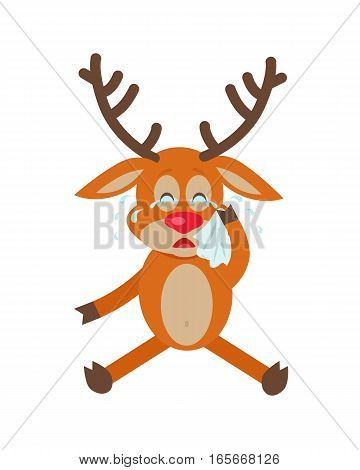 Cute deer wipes tears cartoon. Upset horned reindeer seating and crying with handkerchief in hand flat vector illustration isolated on white background. For icon, emotion concepts, web design