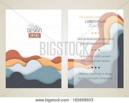 Cover design with curved shapes as a wave or hill. Brochure flyer invitation or certificate. Material design. Size a4. Vector illustration eps10