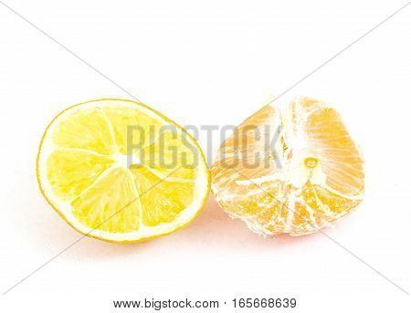 Picture Of A Lemon And Tangerine Slices On White Background