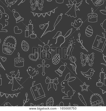Seamless pattern with simple contour icons on the theme of the Easter holiday bright contours on a dark background