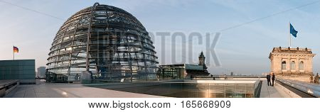 Berlin Germany - 03 October 2010: The roof of the Reichstag with the famous dome designed by Lord Norman Foster