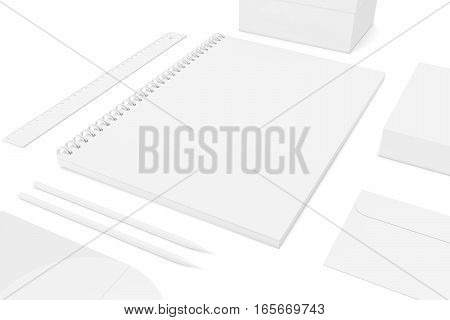 Set of corporate identity templates. 3d rendering.