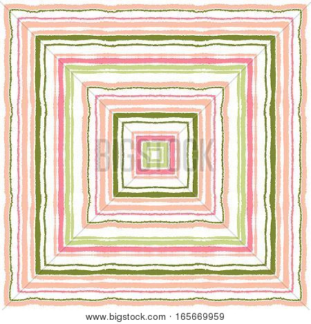 Striped, rectangle, ornamental pattern. Square lines with torn paper effect. Shred edge background. Soft, loving, warm, rose, green, white colored. Winter evening, sunset theme. Vector illustration