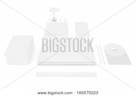 White blank ultimate set of printing materials template for branding identity. 3d rendering.