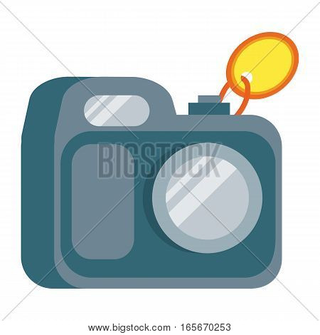 Camera icon with tag. Traditional home appliance for photo flat vector illustration isolated on white background. Best choice, best price, bestseller signs. For store sale and discount promo