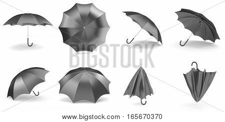 Black umbrellas and parasols in various positions open and folded collection. 3d rendering.