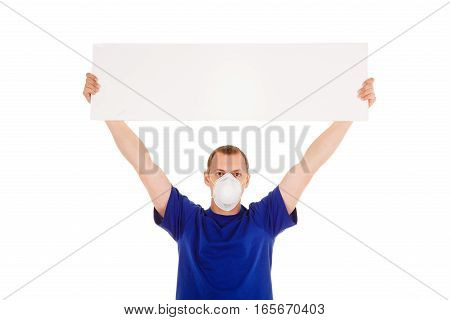 Man In Face-guard Mask With Blanc Poster Isolated In White Background