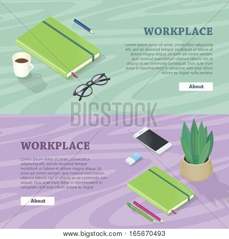 Office accessory set. Top view of desk with mobile phone, glasses, cup of coffee, plant, flash drive. Personal accessories. Flat design concept of creative office workplace. Vector illustration