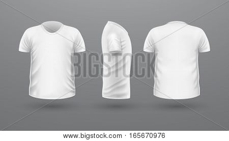 T-shirt template set, front, side, back view. White colors. Realistic vector illustration in flat style. Sport clothing. Casual men wear. Cotton unisex polo outfit. Fashionable apparel.