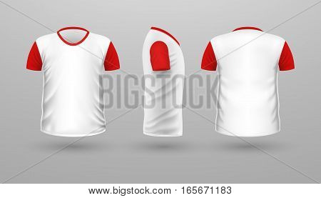 T-shirt with red sleeve template set, front, side, back view. White color. Realistic vector illustration in flat style. Sport clothing. Casual men wear. Cotton unisex polo outfit. Fashionable apparel.