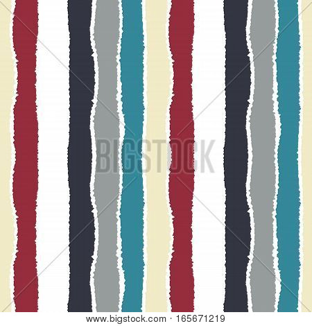 Seamless strip pattern. Vertical lines with torn paper effect. Shred edge background. Light, dark, contrast, blue, gray, red, white colored background. Winter theme. Vector