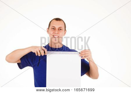 Man With Tape-measure Isolated In White Background