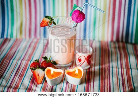 Strawberry Smoothie in Valentine's day. Sweet time