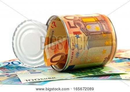 galvanized tin label European euro banknote and cash as the ability to save