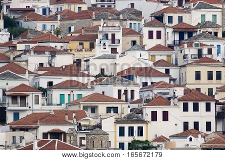 Detail of Roofs of Skopelos Town in Greece