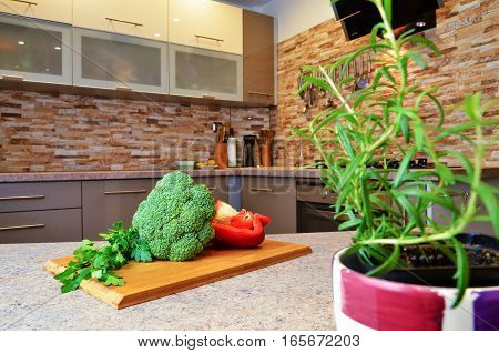 fresh vegetables lying on the table in the kitchen