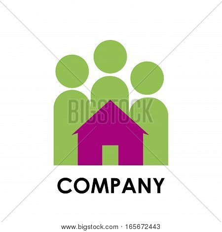 Vector sign family and home, isolated illustration