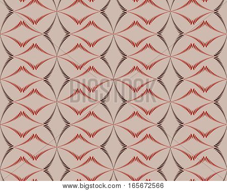 Seamless geometric abstract pattern. Diagonal rhomb shaped, braiding figure texture. Unusual rhombus bands, lines on dark background. Brown, red, beige pastel colors. Vector