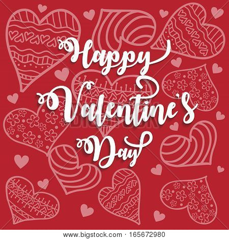 Romantic st valentine card with white heartshaped ornament over red background. Vector illustration.