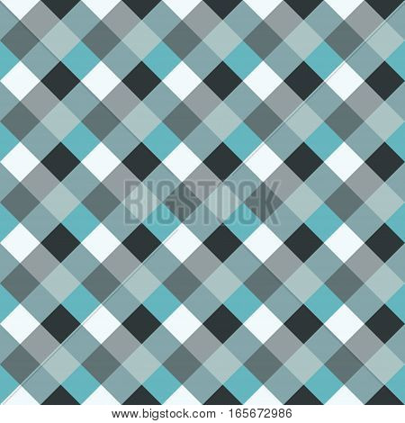 Seamless geometric checked pattern. Diagonal square, woven line background. Rhombus, patchwork texture. Blue, gray, aqua cold soft colored. Vector