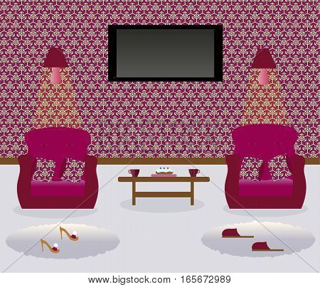 A living room with a coffee table.Turned on lamps on the wall. Two armchairs witn colored decorative pillows. Сarpets. Sexy cute slippers with high heels. Male`s slippers.Flat screen TV.Vector illustration.