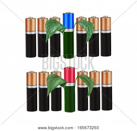 Environmental-friendly energy sources, batteries, on a white background, with green leaves, isolated, montage